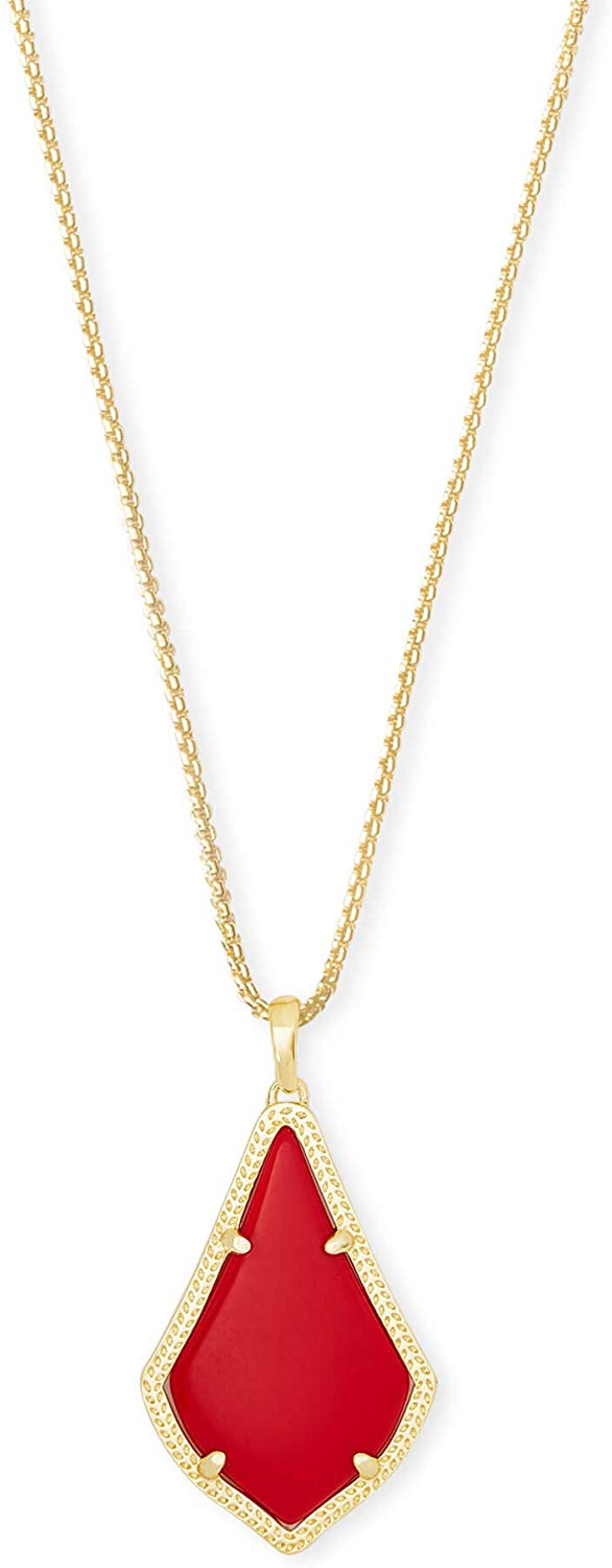 Kendra Scott Alex Bright Red Gold Tone Pendant Necklace - 4217703978