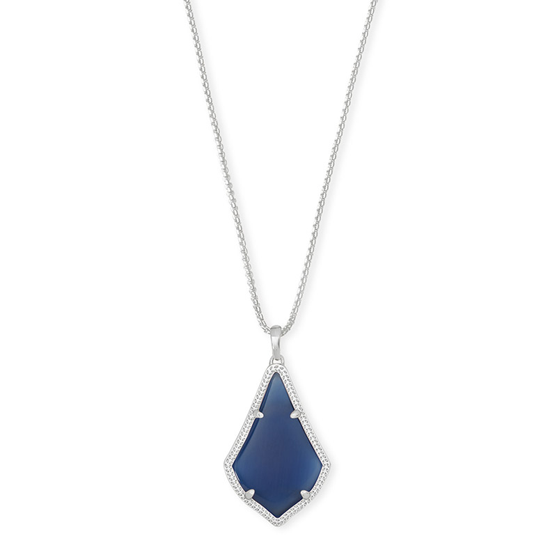 Kendra Scott Alex Navy Cat'S Eye Rhodium Pendant Necklace - 4217703989
