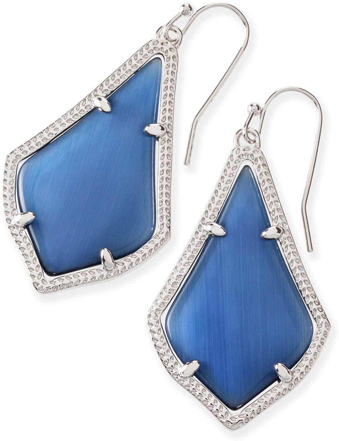 Kendra Scott Alex Navy Cats Eye Rhodium Earrings - 4217715291