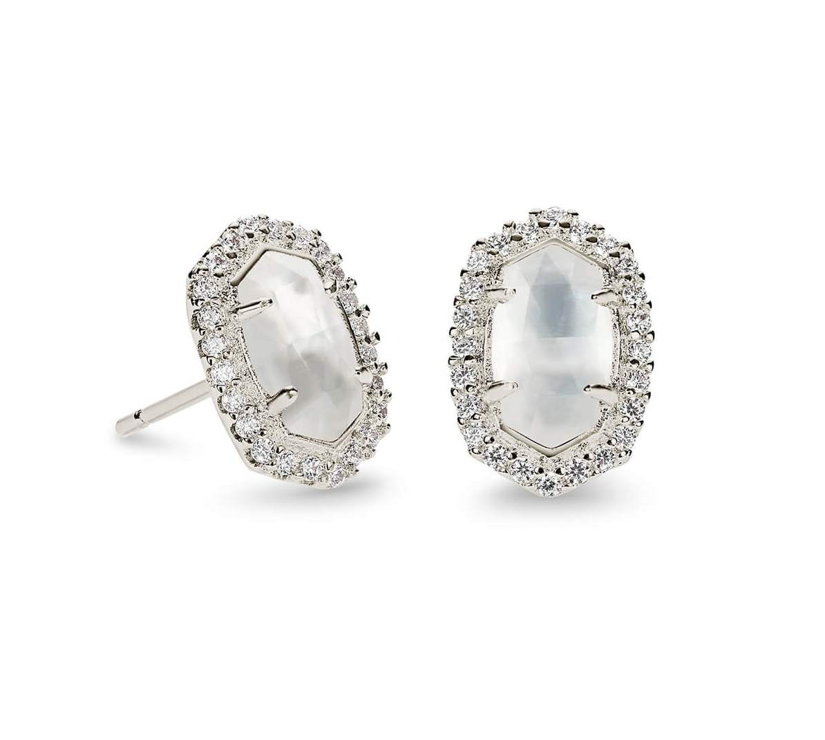 Kendra Scott Cade Silver Stud Earrings in Ivory Pearl