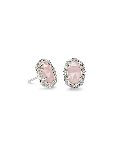 Kendra Scott Cade Silver Stud Earrings in Rose Quartz