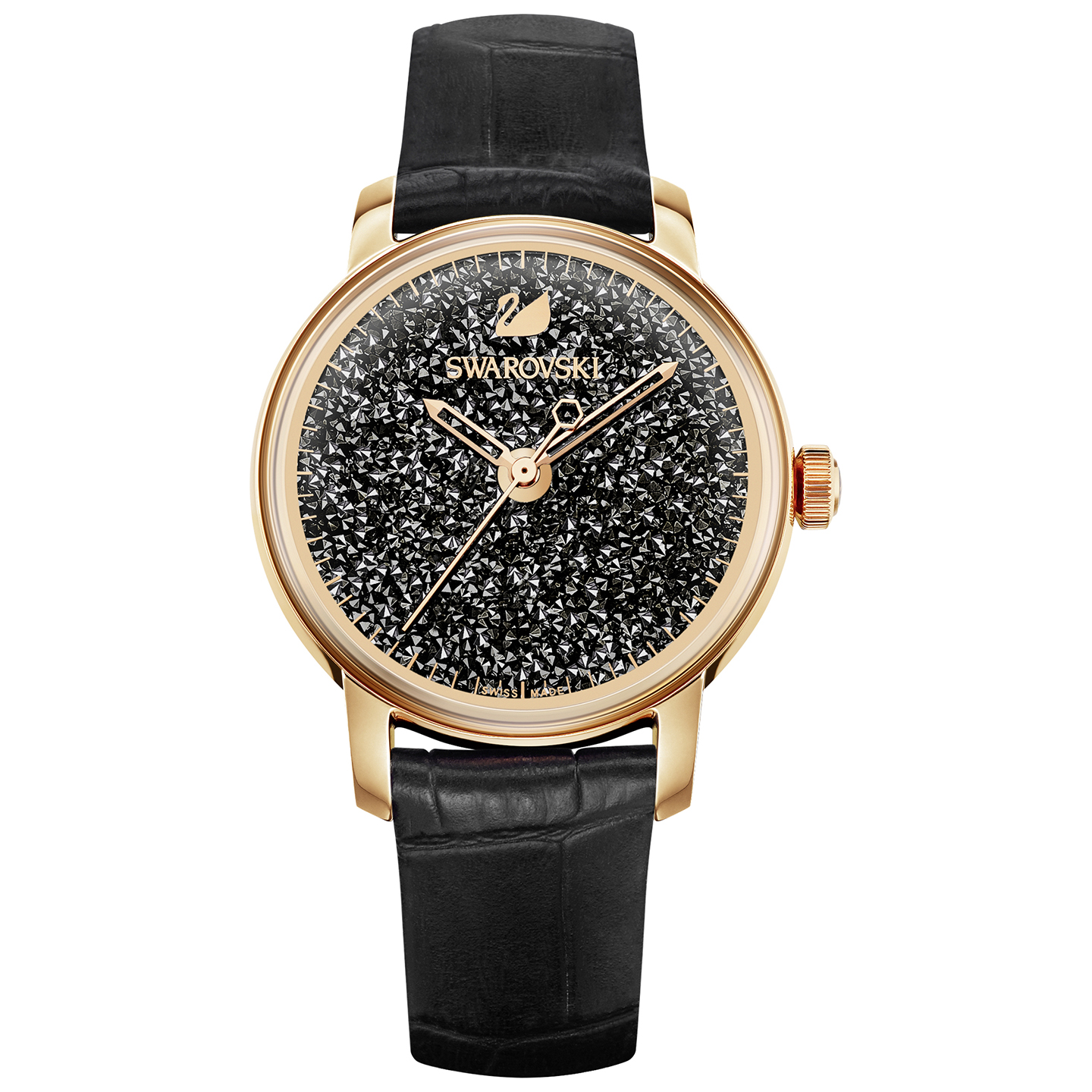 Swarovski Crystalline Hours Watch - Leather Strap - Black - Rose gold tone