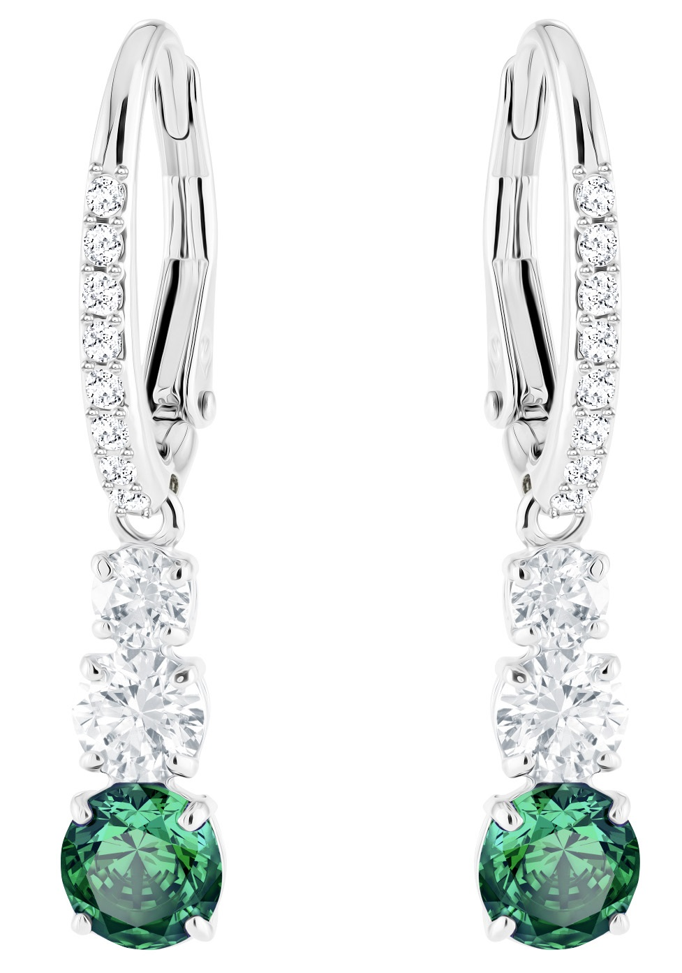 431cacecf Swarovski Attract Trilogy Emerald Crystal Drop Earrings 5414682