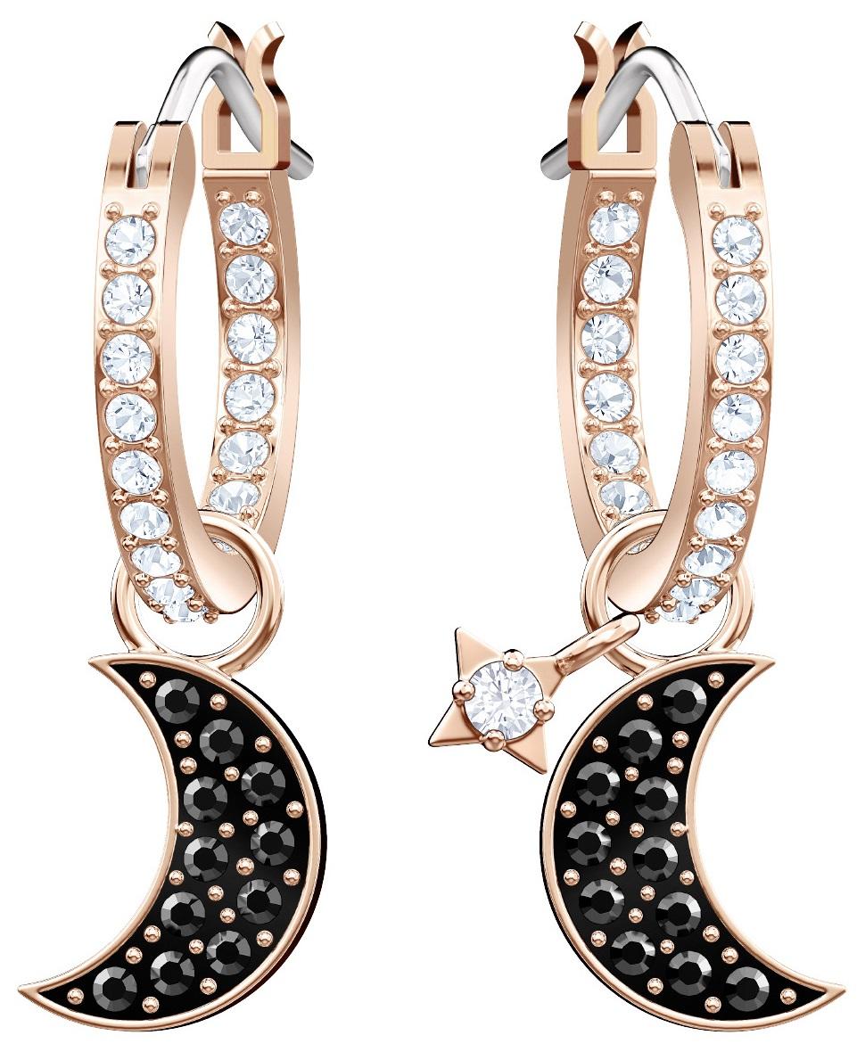 37a38d5a8 Swarovski Duo Moon Hoop Pierced Earrings - Black - Rose gold plating 5440458