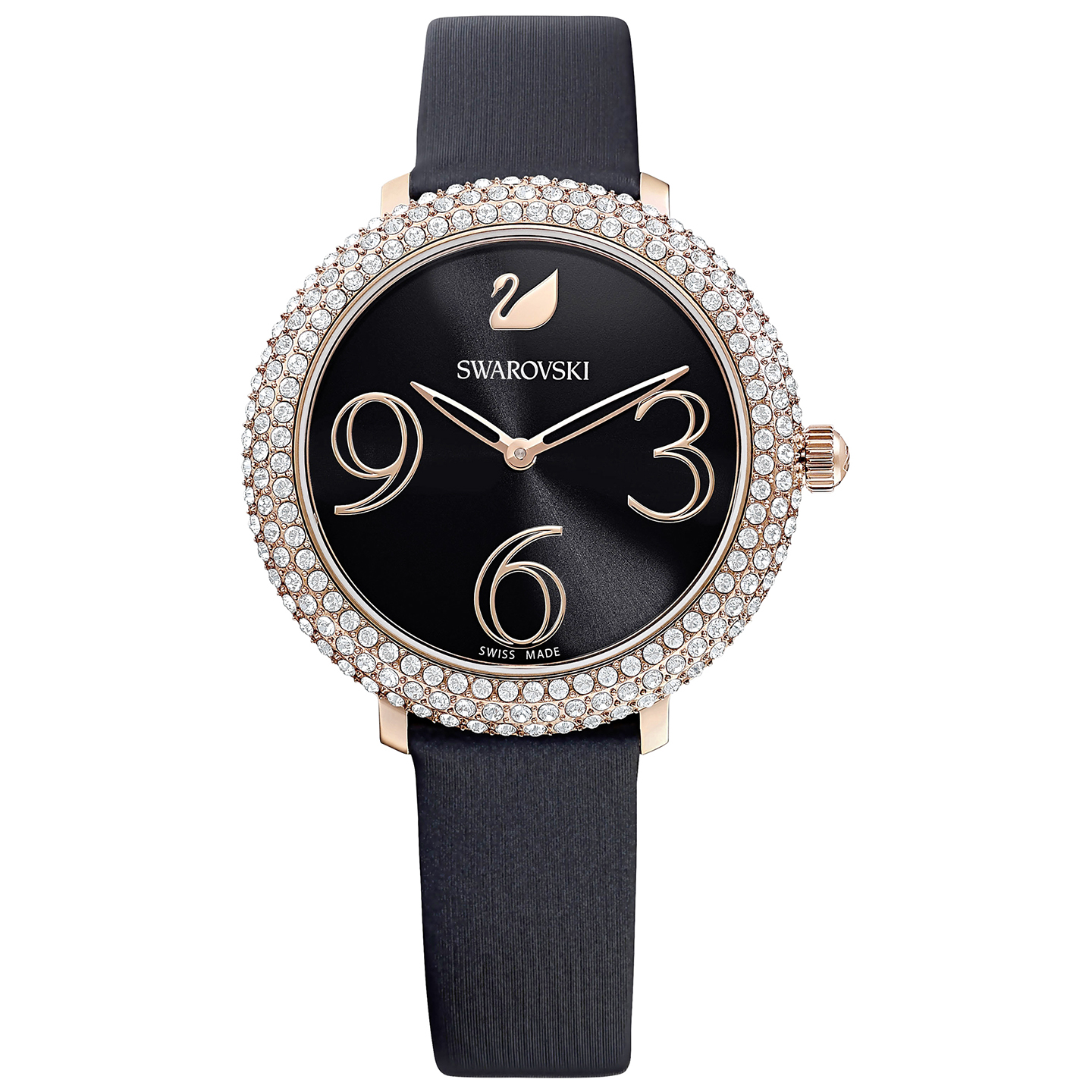 Swarovski Crystal Frost Watch - Leather Strap - Black - Rose-gold Tone PVD - 5484058