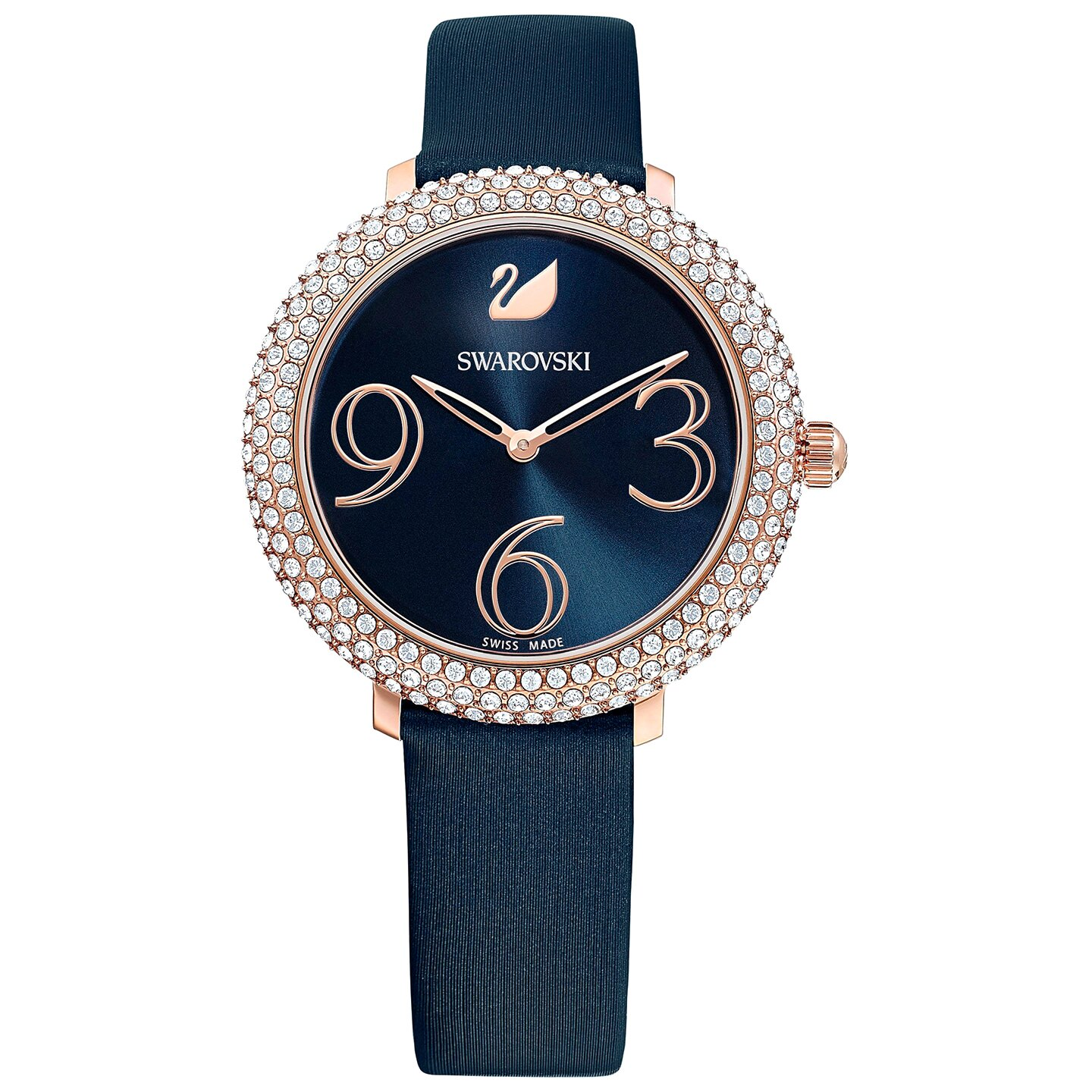 Swarovski Crystal Frost Watch - Leather Strap - Blue - Rose-gold Tone PVD - 5484061