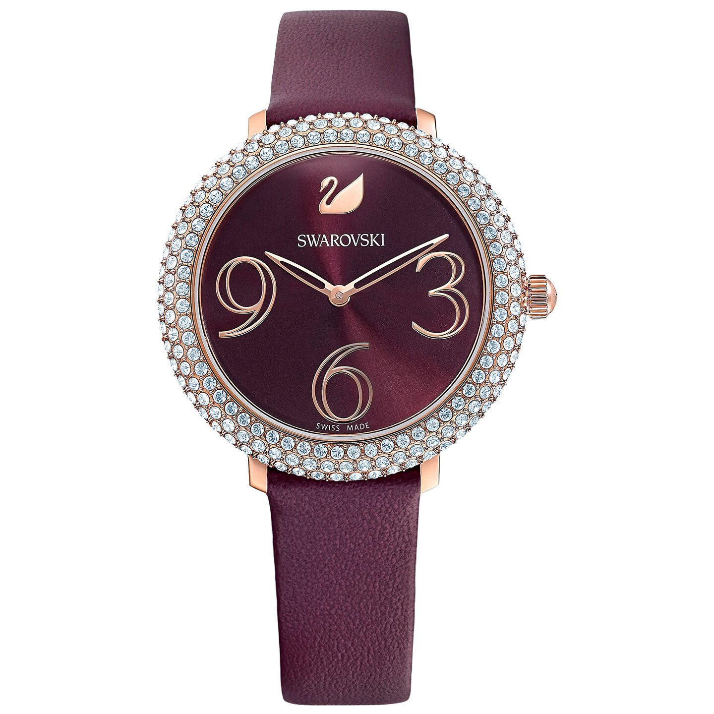 Swarovski Crystal Frost Watch - Leather Strap - Dark red - Rose-gold Tone PVD - 5484064