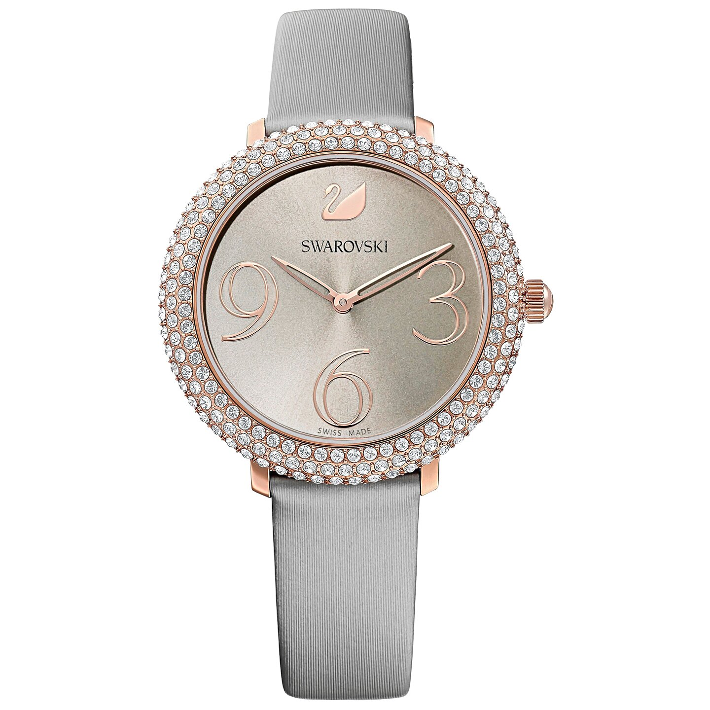Swarovski Crystal Frost Watch - Leather Strap - Gray - Rose-gold Tone PVD - 5484067