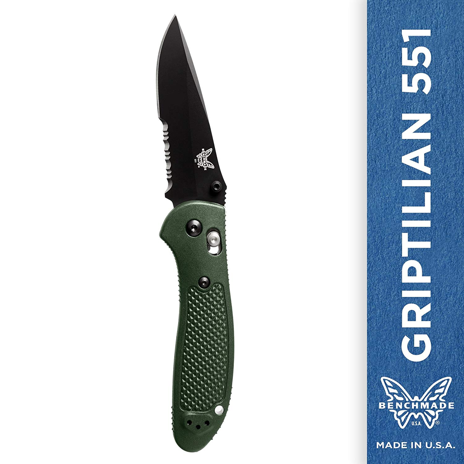 Benchmade Griptilian 551 Knife Drop-Point Blade Olive Handle
