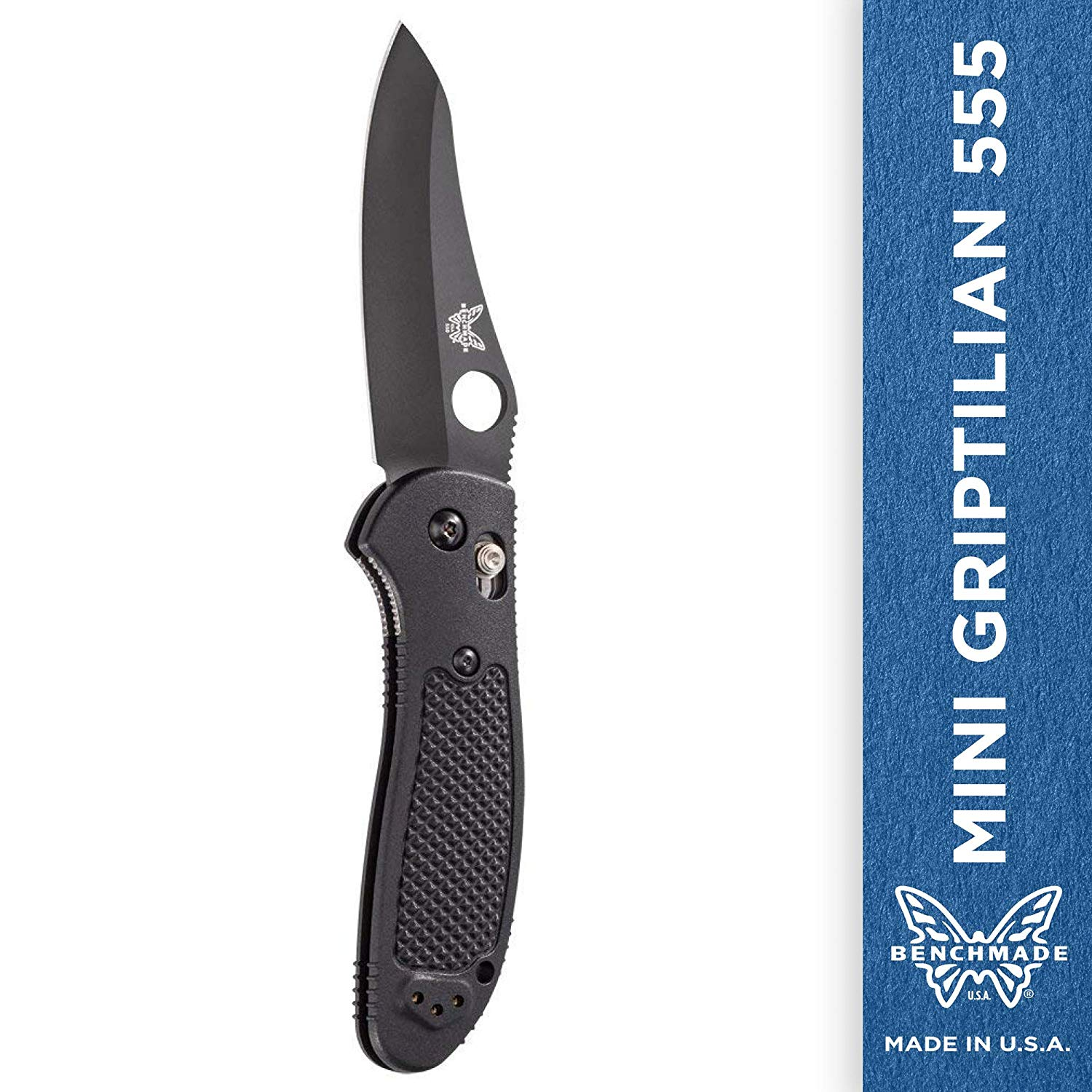 Benchmade - Mini Griptilian 555 Knife with CPM-S30V Steel, Sheepsfoot Blade, Plain Edge