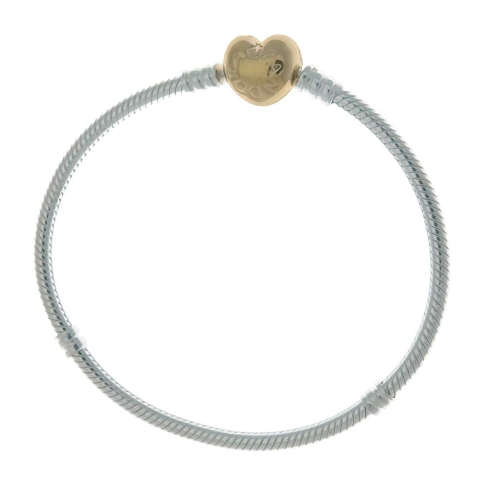 b0963f340 PANDORA Moments 925 Sterling Silver Bracelet with 18k Gold Plated PANDORA  Shine Heart Clasp - 21cm, Solar Time Inc