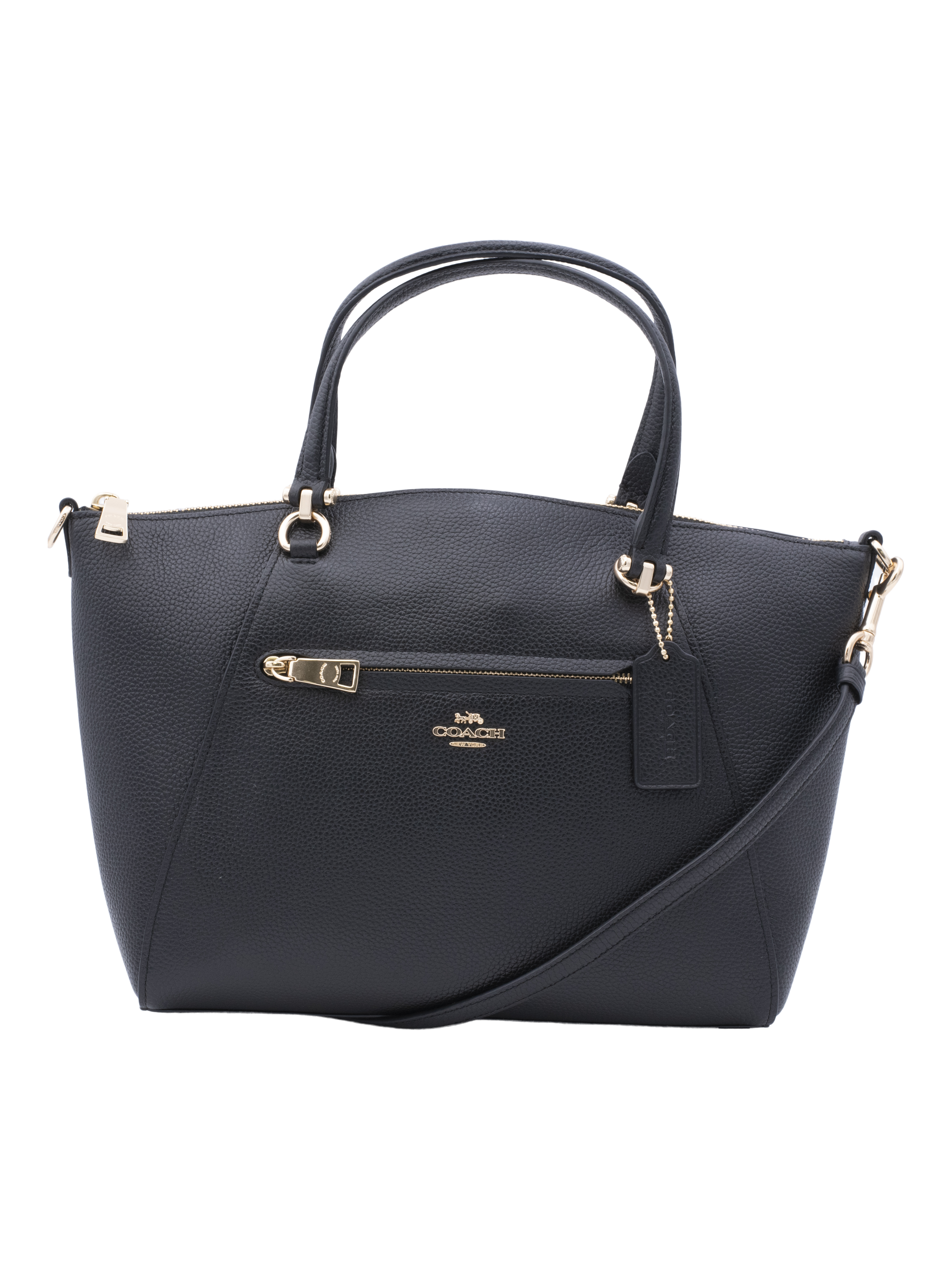 COACH Womens Pebbled Prairie Satchel Li/Black