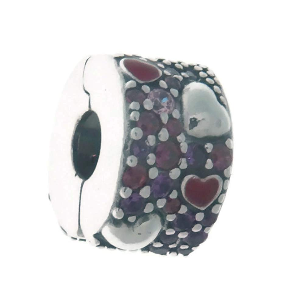 PANDORA Asymmetric Hearts of Love Clip Charm 925