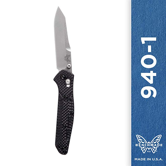 Benchmade 940-1 Knife - Reverse Tanto Blade - Plain Edge - Satin Finish - Carbon Fiber Handle