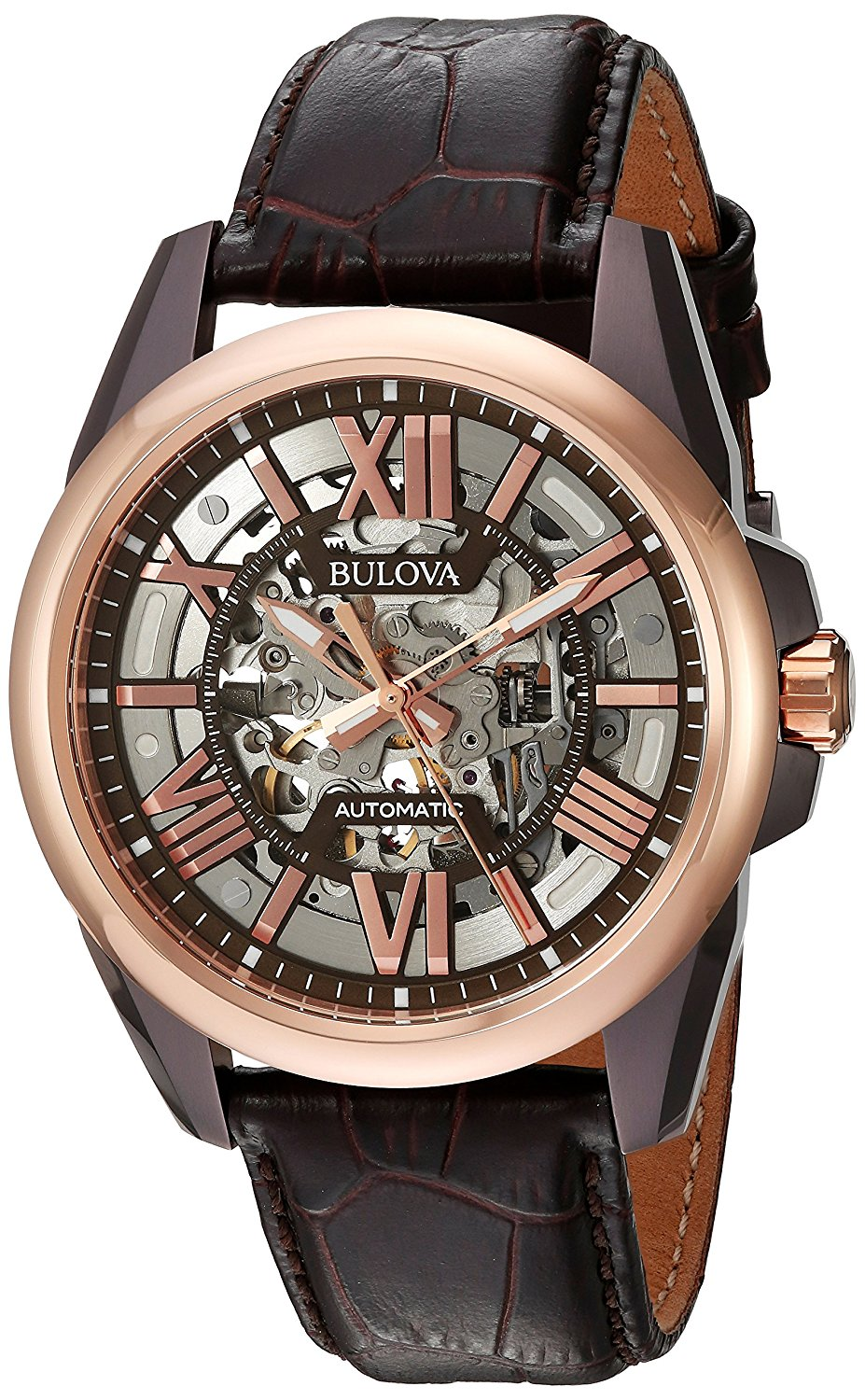 Bulova Automatic  Leather Mens Watch 98A165