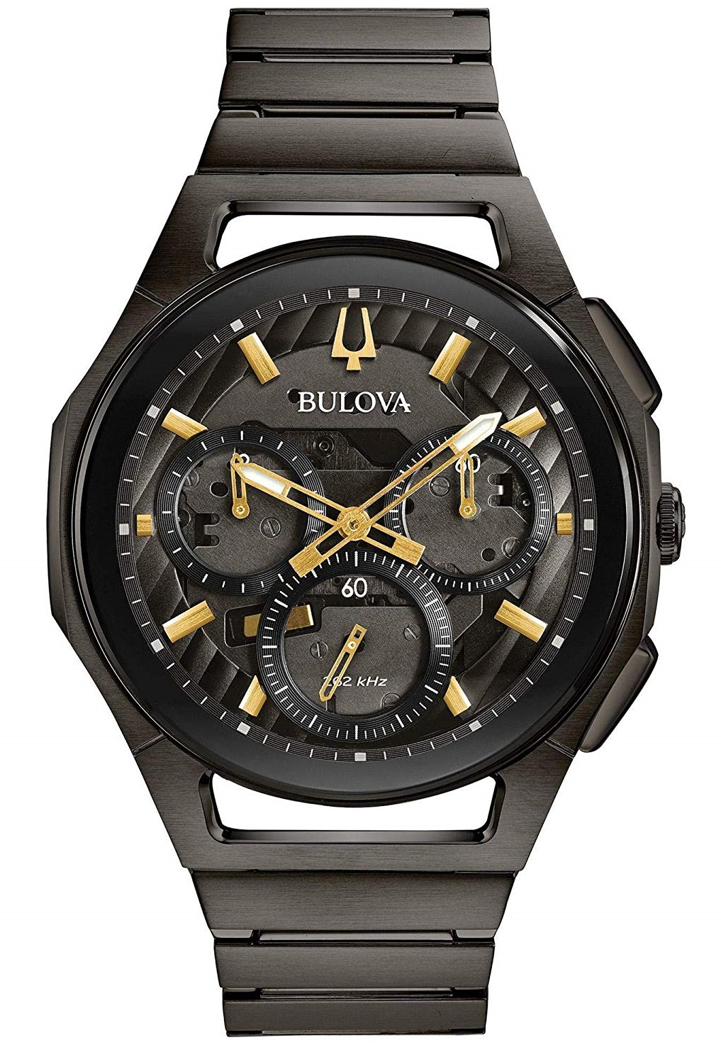 Bulova Curv Black Stainless Steel Chronograph Mens Watch 98A206