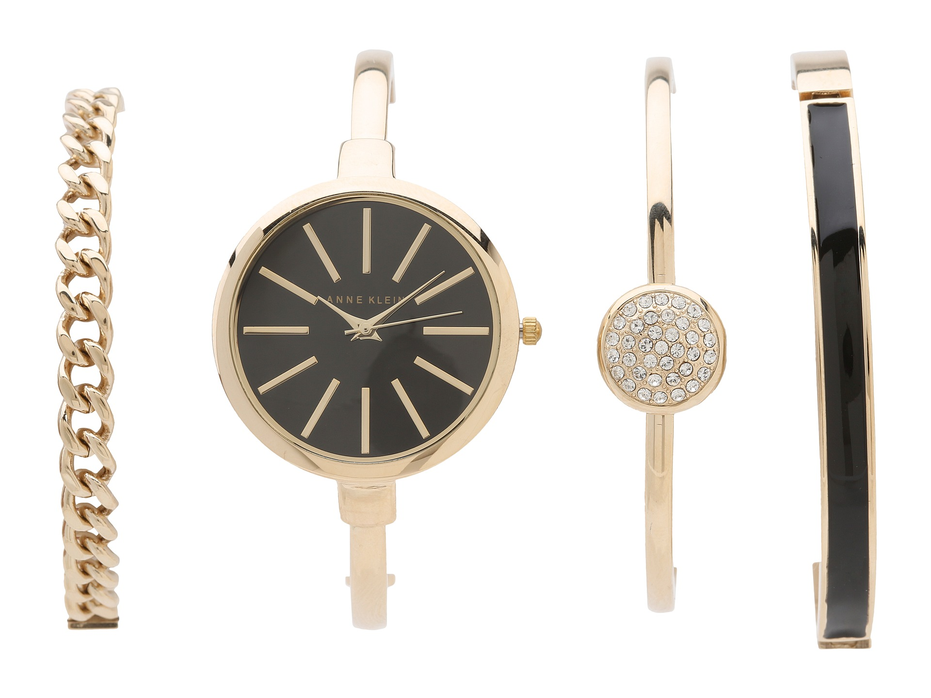 Anne Klein Bangle Bracelet and Ladies Watch AK-1470GBST