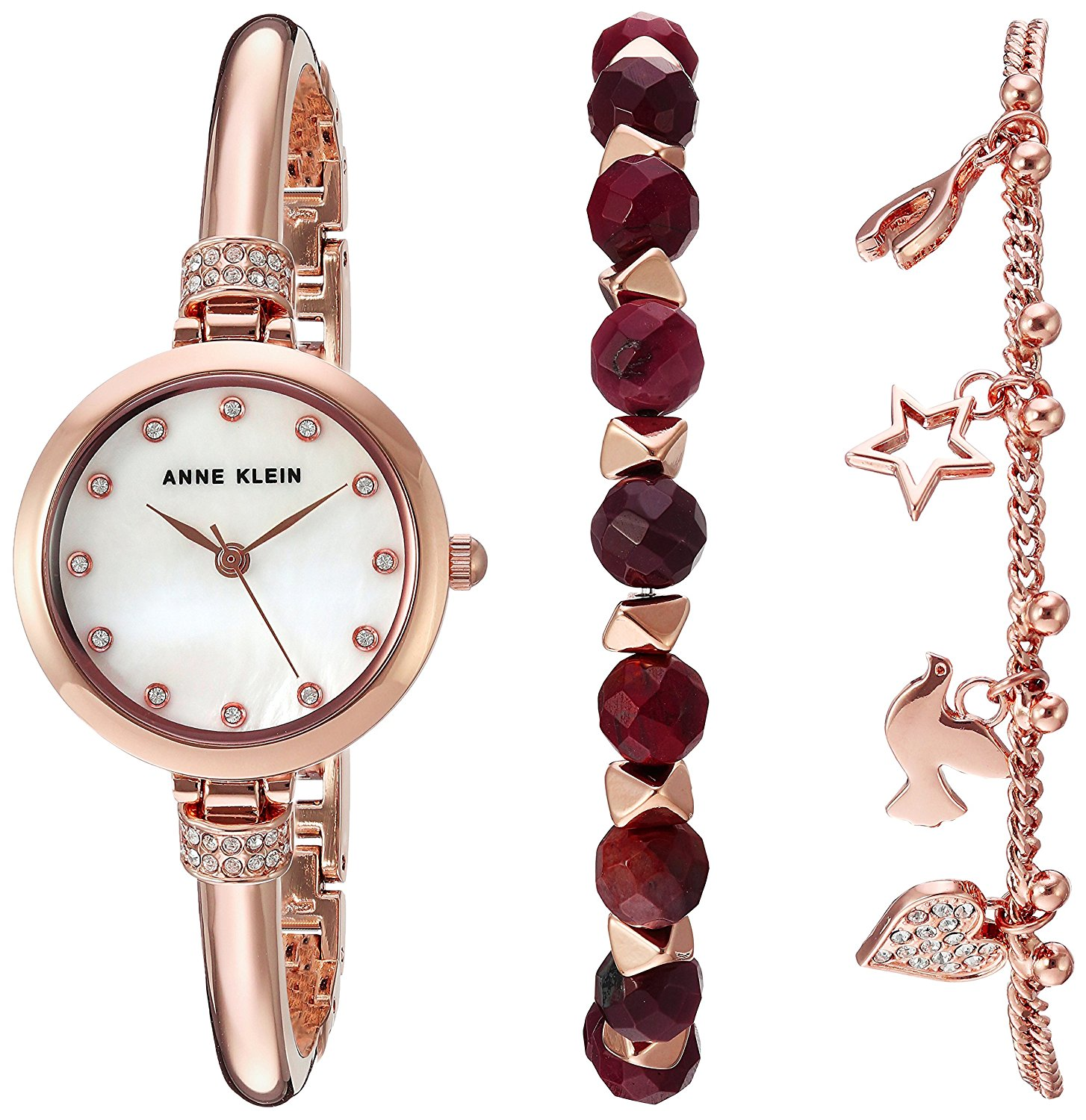 Anne Klein Beaded Bracelet Set And Rose Gold-Tone Alloy Ladies Watch AK-2840RJAS