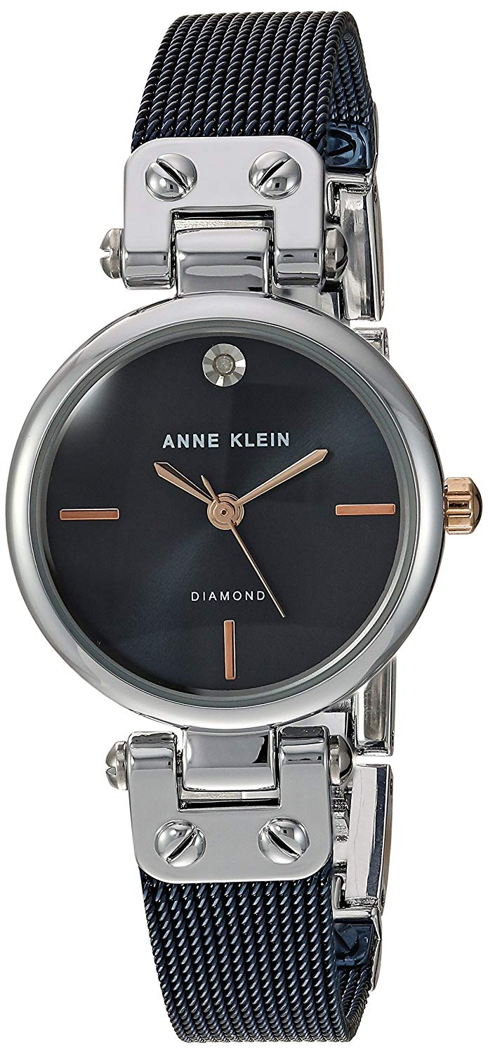 Anne Klein Black Stainless Steel Ladies Watch AK-3003BLRT