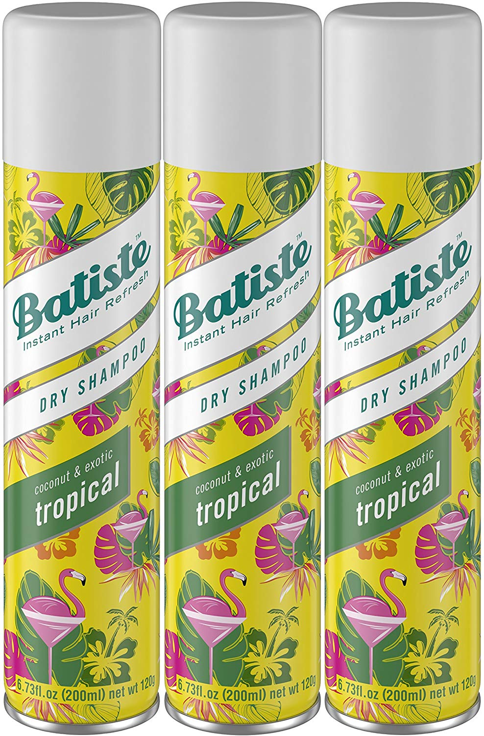 Batiste Dry Shampoo Tropical Fragrance 6.73 Fl Oz Pack of 3