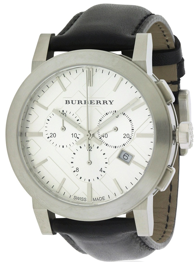 Burberry Leather Chronograph Mens Watch BU9355