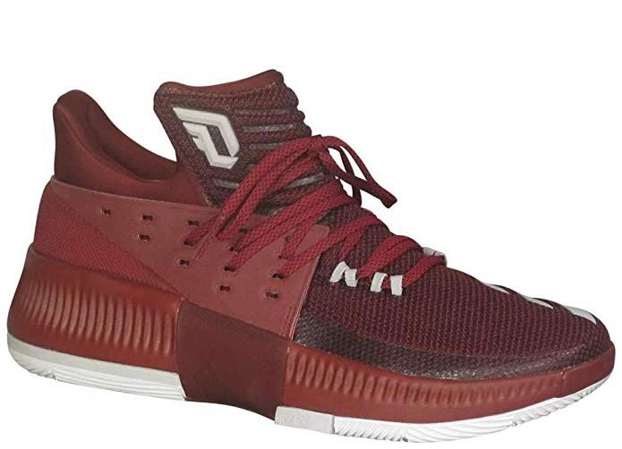 adidas Mens Dame 3 Basketball Shoe Sneaker - Maroon-White - Size 10