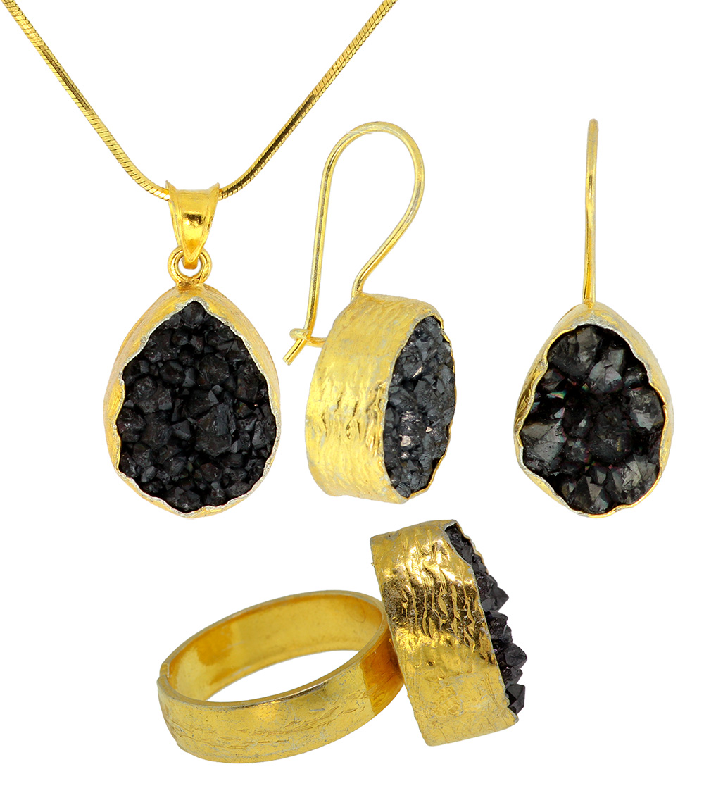 925 Sterling Silver Gold Plated Black Druzy Set - DRZ34