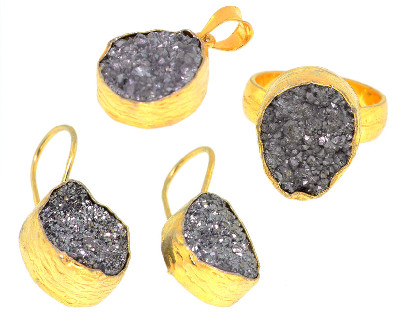 925 Sterling Silver 14k Gold Plated Light Grey Druzy Set Of Ring Pendant And Earrings - DRZ38