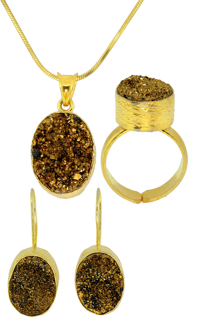 925 Sterling Silver Gold Plated Druzy Quarts Set - DRZ39