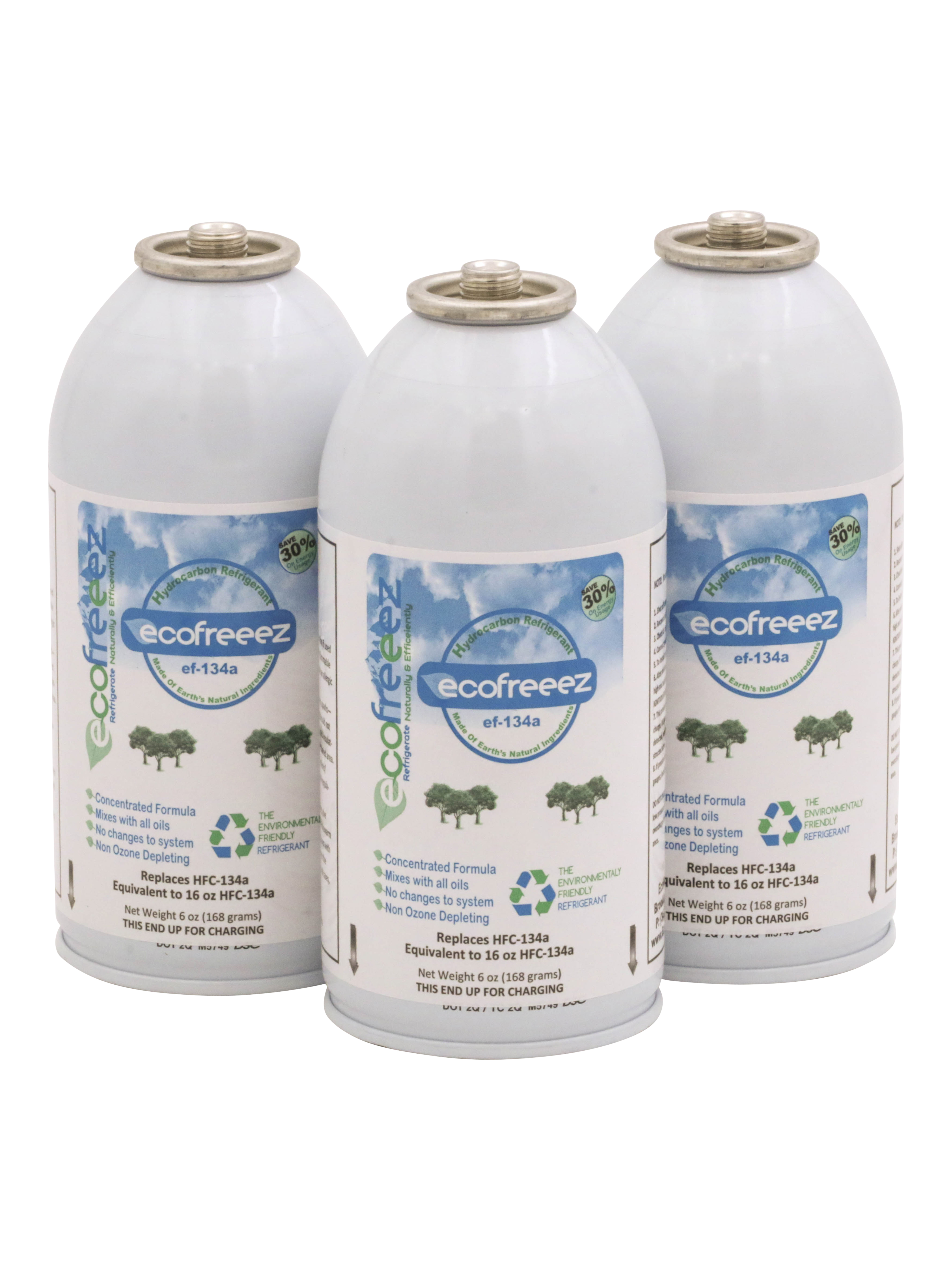Ecofeeez ef-134a Hydrocarbon Refrigerant Natural & Environmental Friendly Non Ozone Depleting 6 oz cans 3 Pack