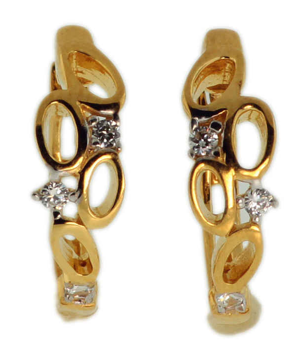925 Sterling Silver Gold Plated Earrings With Round CZ - FNCDL05