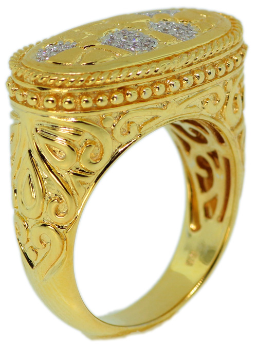 925 Sterling Silver Gold Plated With Micro Pave CZ Ring - FNCDLS05