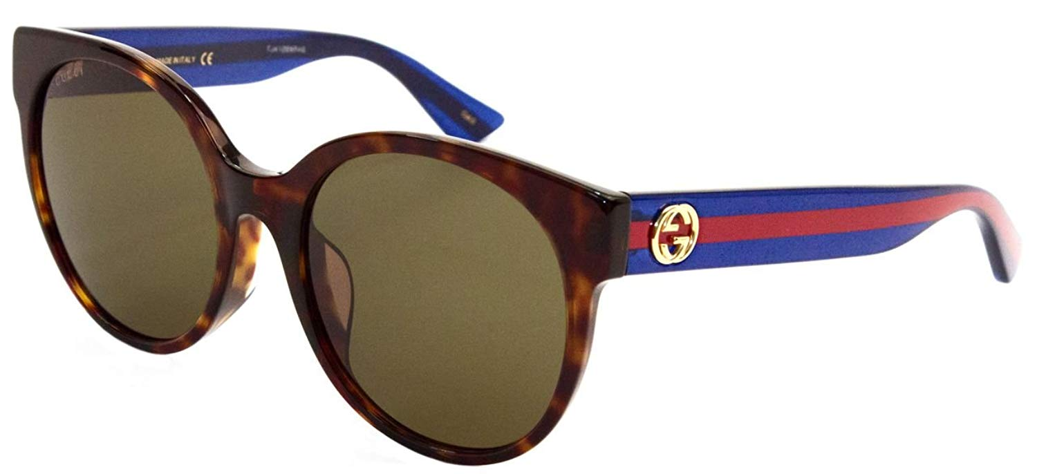 Gucci Havana Blue Brown Ladies Sunglasses - GG0035SA-003