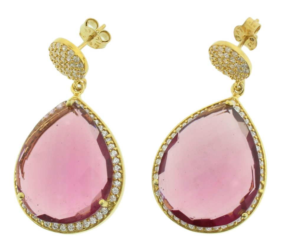 925 Silver Gold Plated Genuine Stone Ruby Hydro With Cz Teardrop Earring - GSPV05