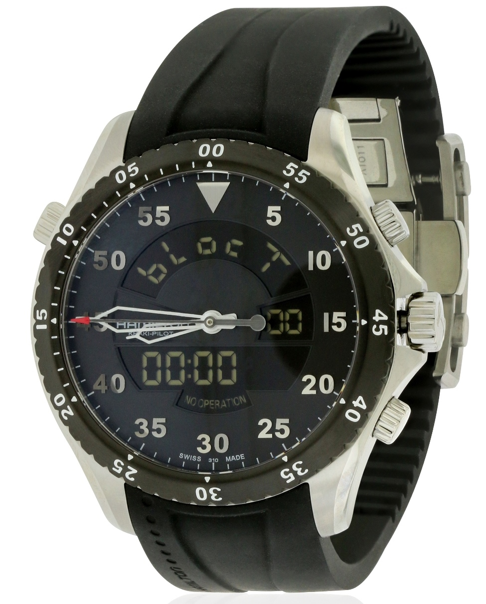 Hamilton Flight Timer Rubber Chronograph Mens Watch H64554331