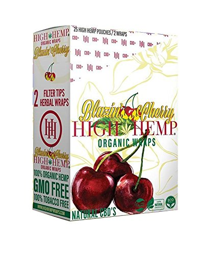 High Hemp 25 Count Blazin Cherry of Organic Wraps - Tobacco Free - Vegan - Non-GMO