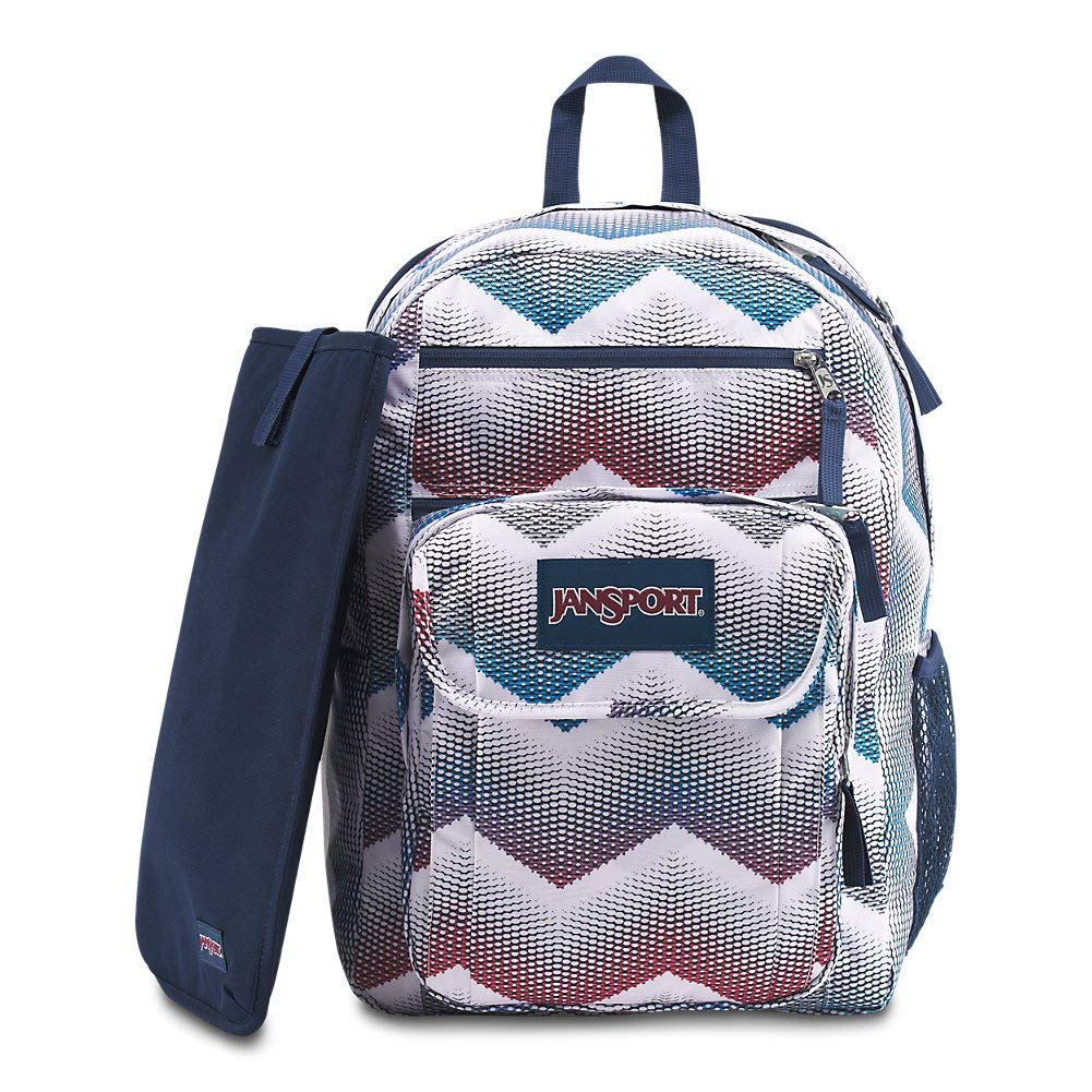 JanSport Digital Student Laptop Backpack - Matrix Chevron White - JS00T69D44H