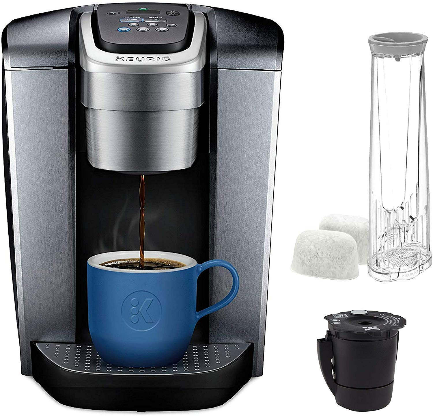 Keurig K Elite Coffee-Machine - Brushed Silver And Extra Filter