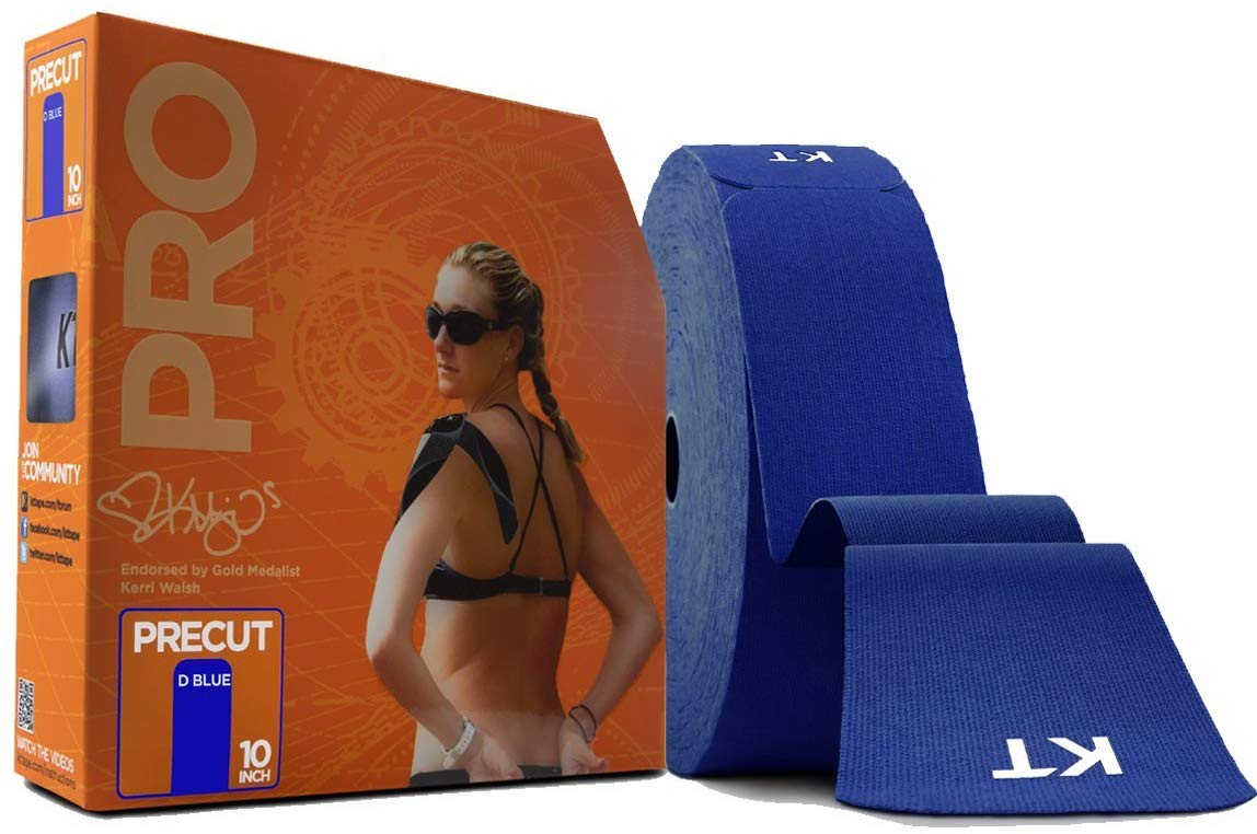 KT TAPE PRO Synthetic Elastic Kinesiology Therapeutic Tape 125 Foot/ 10 inch Strips - Sonic Blue
