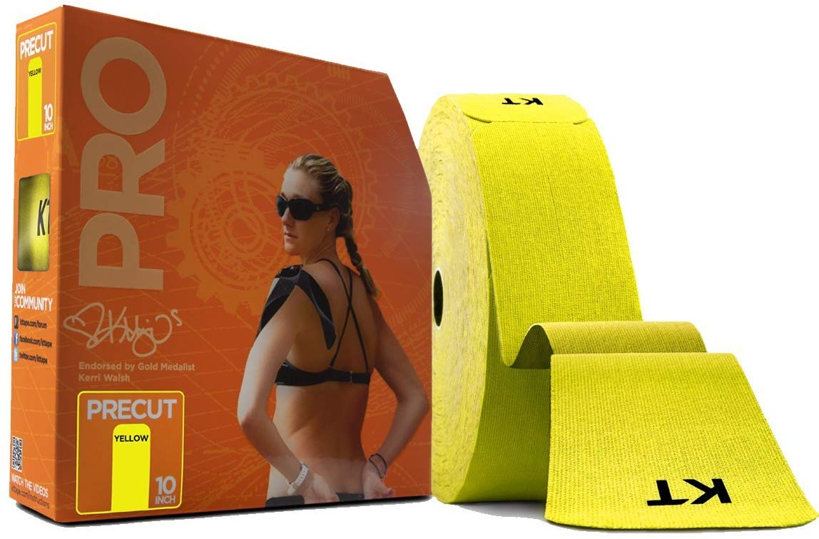 KT TAPE PRO Synthetic Elastic Kinesiology Therapeutic Tape 125 Foot/ 10 inch Strips - Solar Yellow