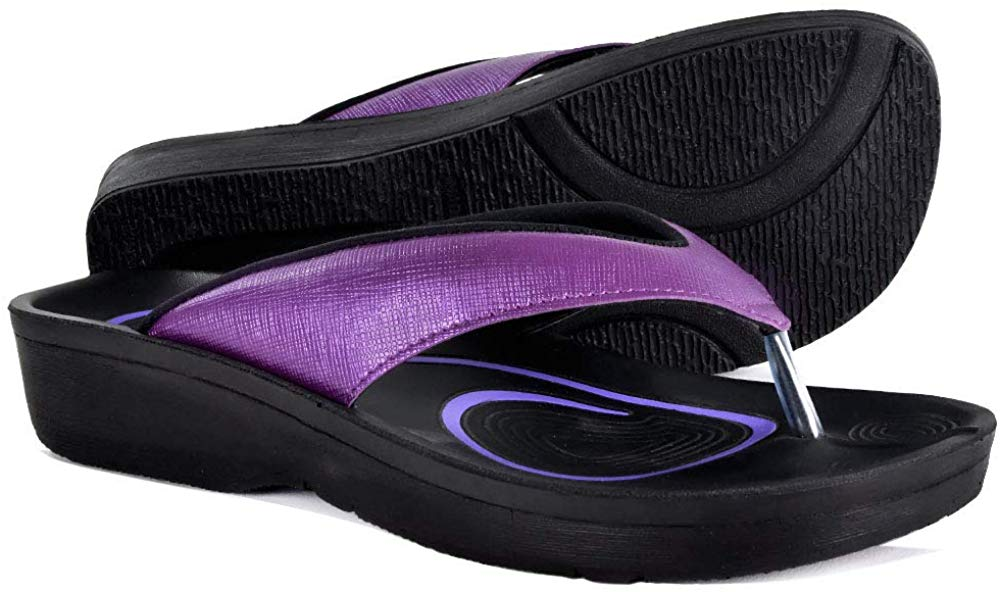 AEROTHOTIC Original Orthotic Comfort Thong Sandal Flip Flops - Matt Purple - Womens 10