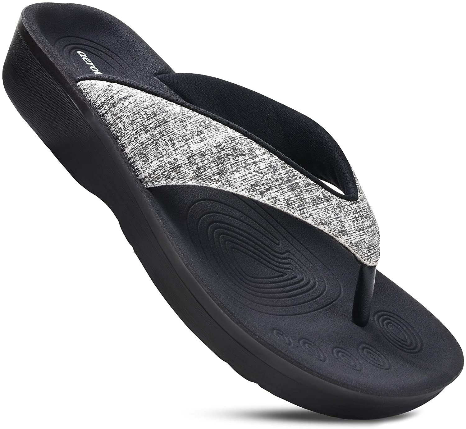 AEROTHOTIC Original Orthotic Comfort Thong Style Flip Flops Sandals for Women - Mellow Black - Size 8