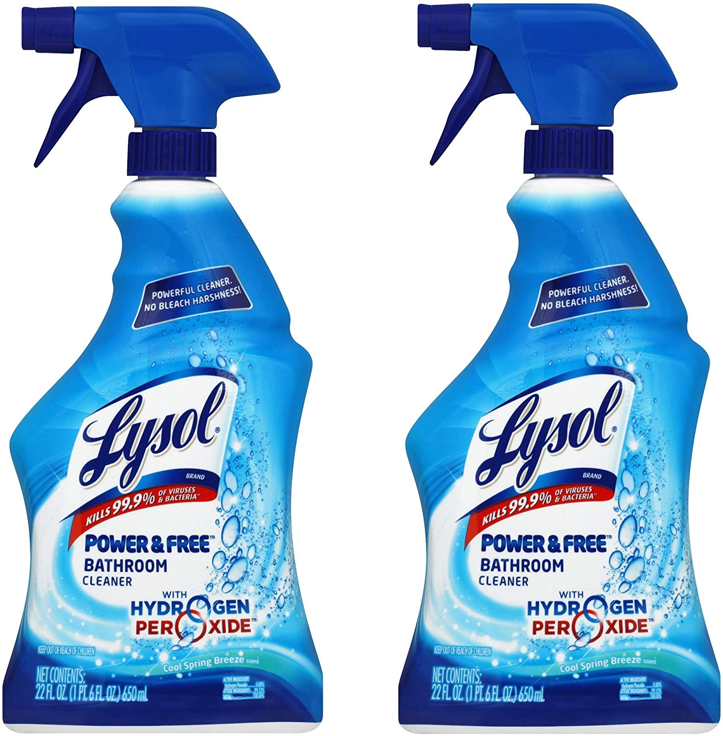 Lysol Bleach Free Hydrogen Peroxide Bathroom Cleaner Spray - Fresh - 22 oz (44 Ounce)
