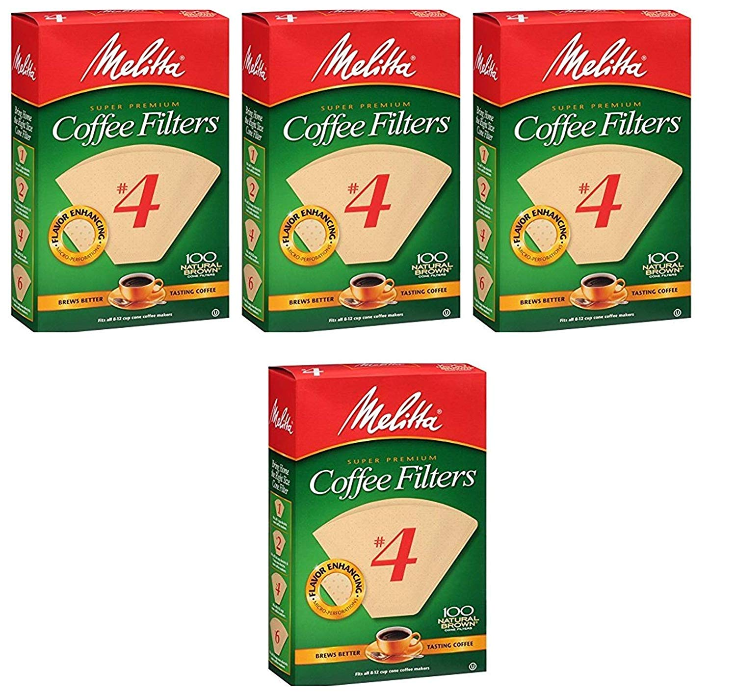 Melitta Cone Coffee Filters Natural Brown #4 - Sold as 4 Pack - 400 Count