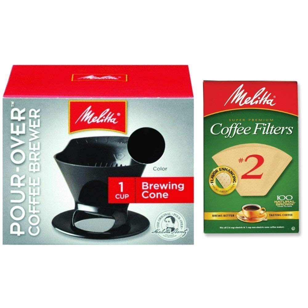 Melitta Pour Over Coffee Cone Brewer & #2 Filter Natural Brown Combo Set - Black