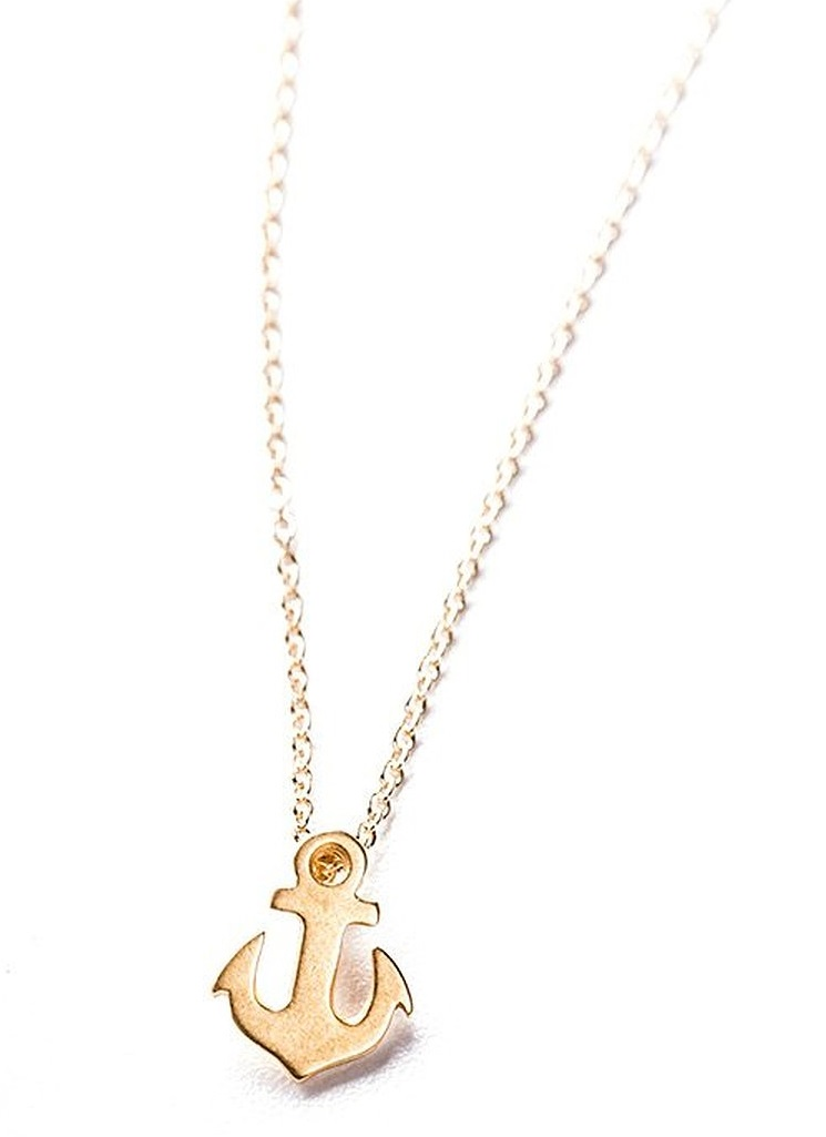 Dogeared Friendship Smooth Anchor - Gold Dipped Necklace