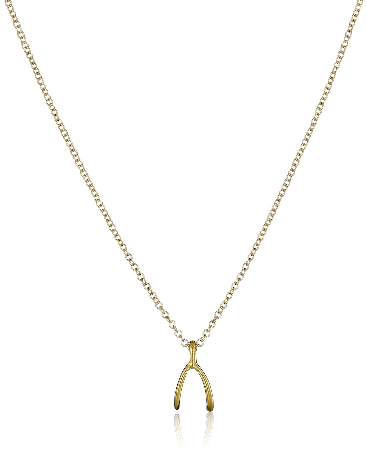 Dogeared Reminder Wishbone Gold Chain Necklace - MG1627