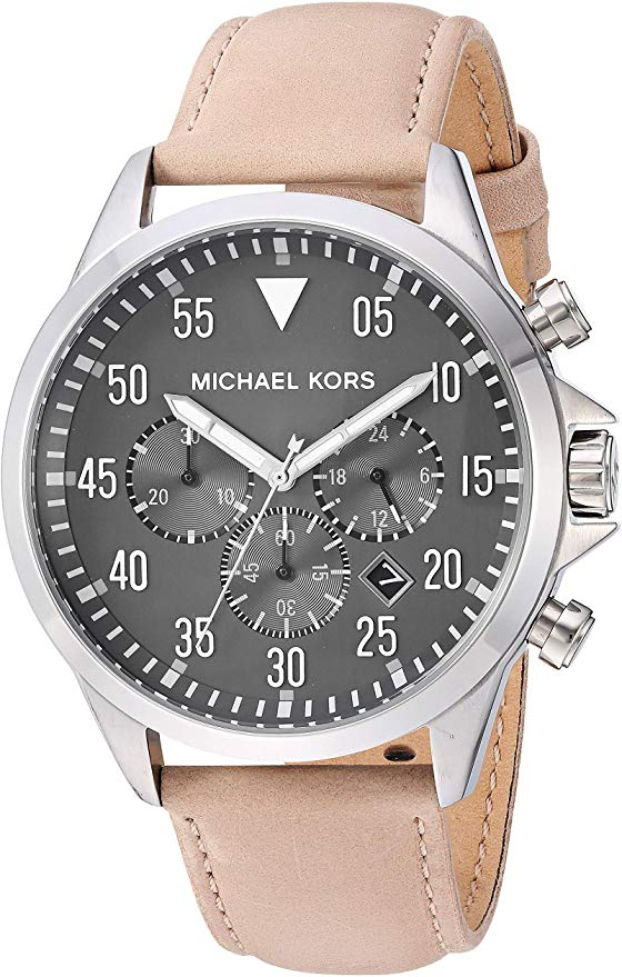 Michael Kors Gage Taupe Leather Mens Watch MK8616