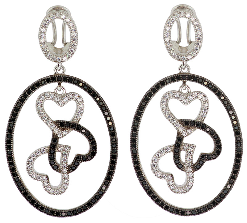 925 Sterling Silver Micro Pave Black & White CZ Earrings - MPVBW