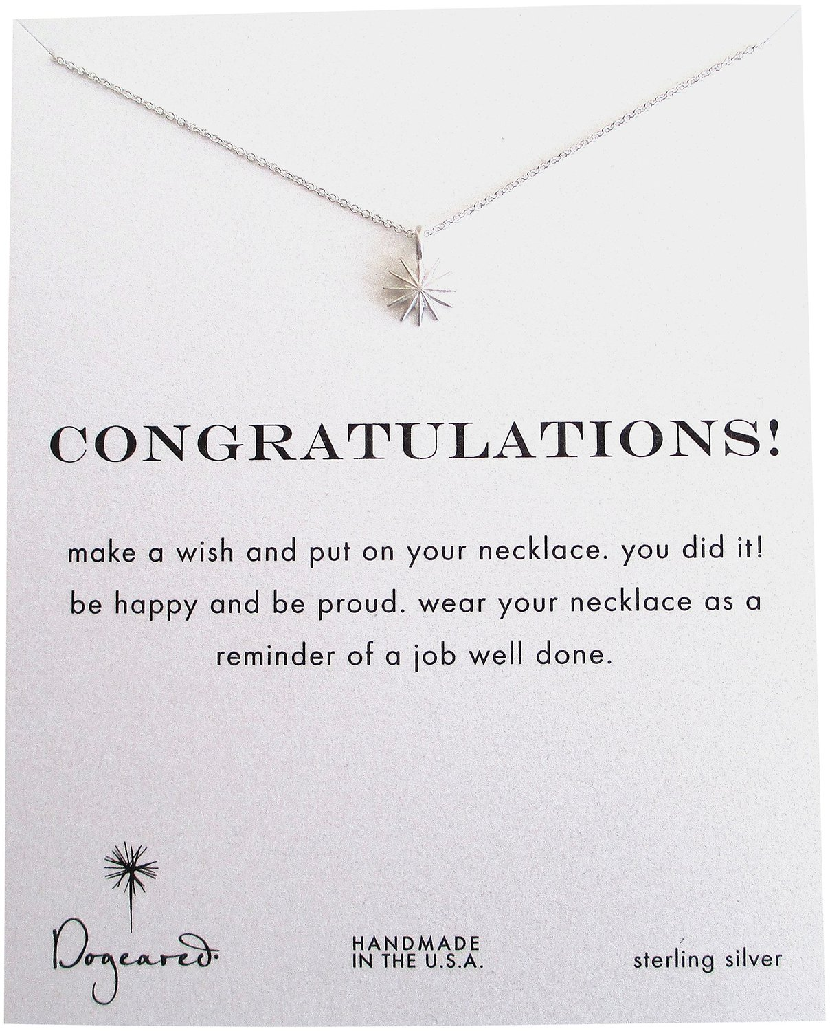 Dogeared Congratulations Sterling Silver Starburst Reminder Boxed Necklace - MS1857